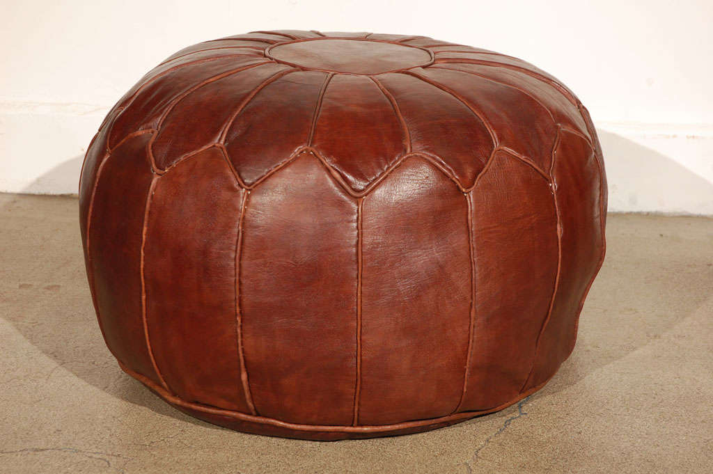 Moroccan Large Leather Pouf At 1stdibs
