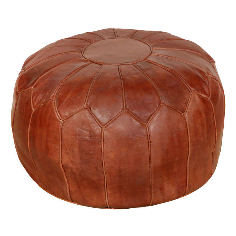 moroccan large leather pouf at 1stdibs. Black Bedroom Furniture Sets. Home Design Ideas