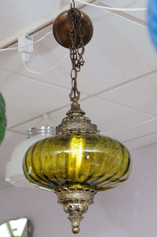 Stunning Olive Green Midcentury Ceiling Pendant image 2