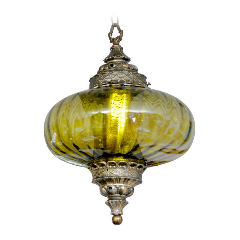 Stunning Olive Green Midcentury Ceiling Pendant