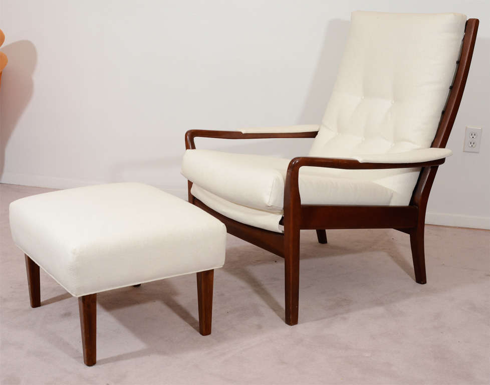 Mid Century Modern Lounge Chair And Matching Ottoman At