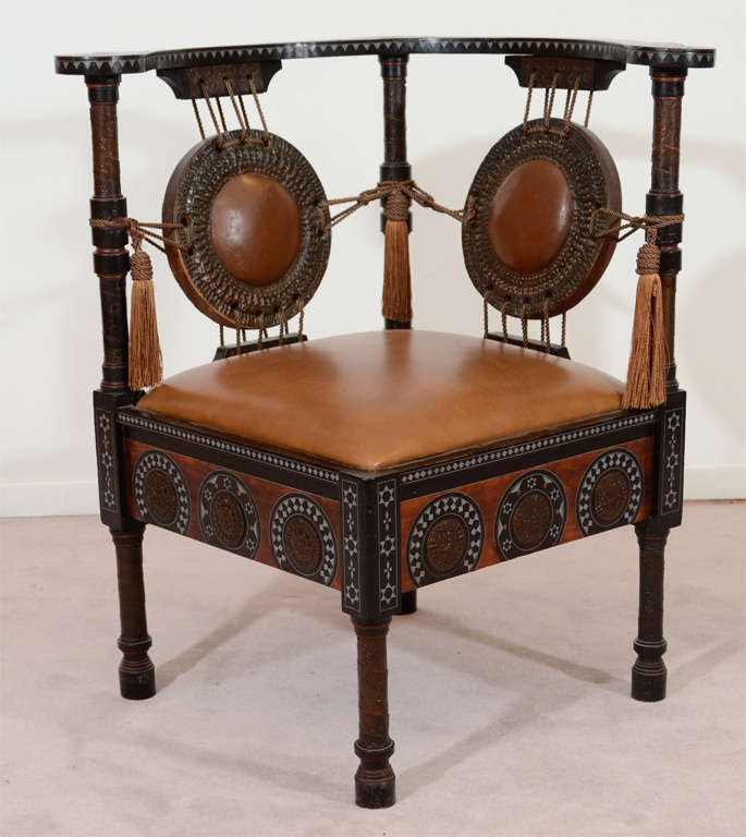 Antique Inlaid Wood Corner Chair by Carlo Bugatti 2 - Antique Inlaid Wood Corner Chair By Carlo Bugatti At 1stdibs