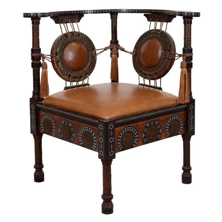 Antique Inlaid Wood Corner Chair by Carlo Bugatti 1 - Antique Inlaid Wood Corner Chair By Carlo Bugatti At 1stdibs