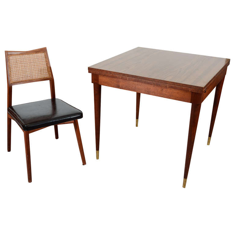mid century fold out dining table with four chairs at 1stdibs. Black Bedroom Furniture Sets. Home Design Ideas