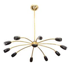 Mid Century Stilnovo Style Spider Chandelier w/ Ten Lights
