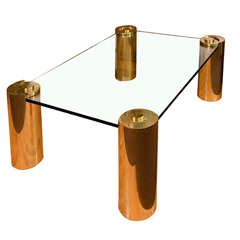 Mid Century Karl Springer Brass and Glass Coffee Table