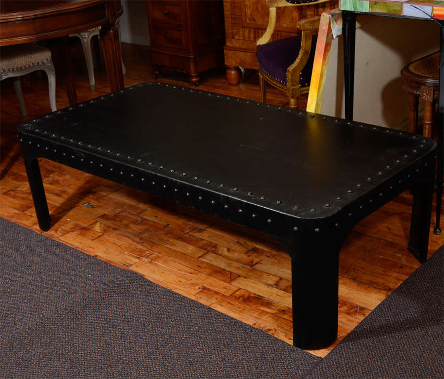 French Industrial Coffee Table: Vintage French Industrial Modernist Metal Coffee Table At