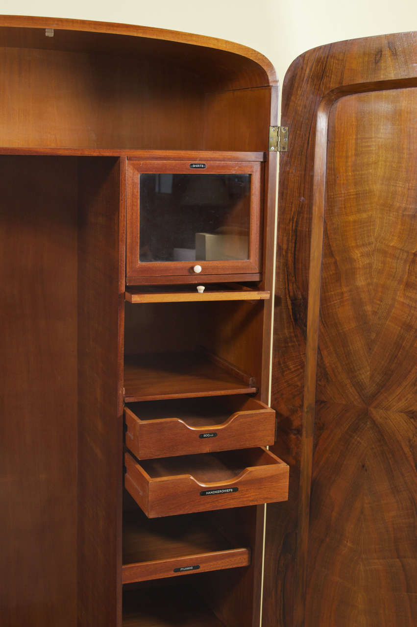 Art Deco Burl Walnut French Wardrobe Or Armoire At 1stdibs