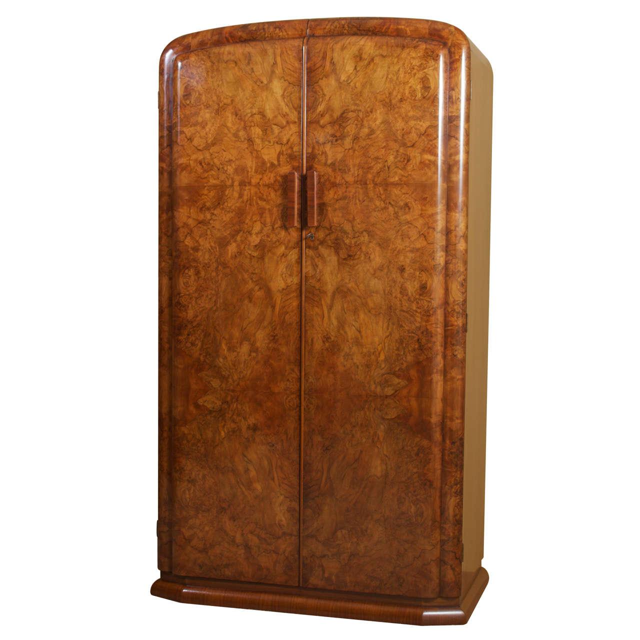 Art deco burl walnut french wardrobe or armoire at 1stdibs