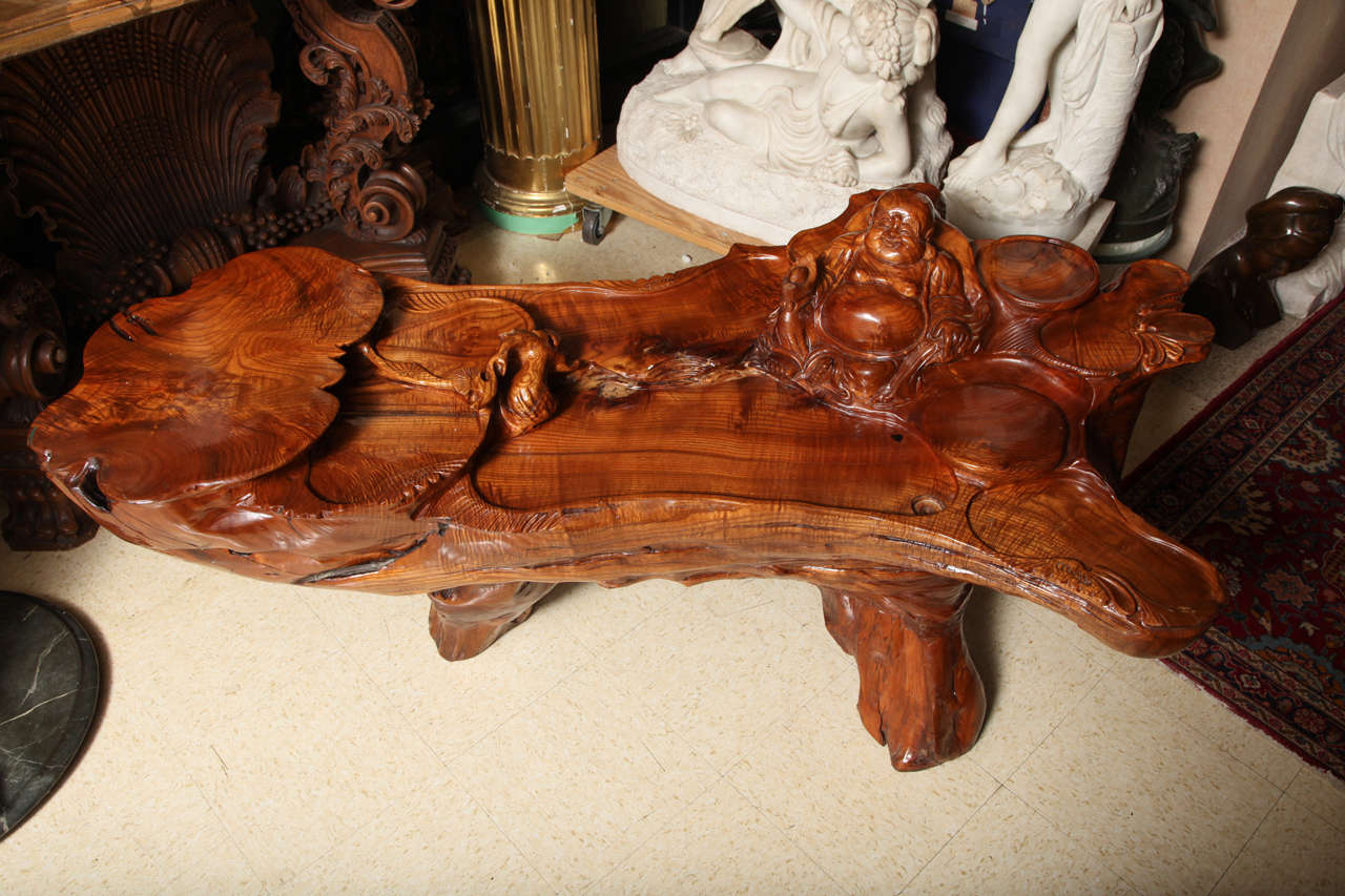 American Craftsman Very Unusual Carved Tree Trunk Chinoiseri Style Coffee Table