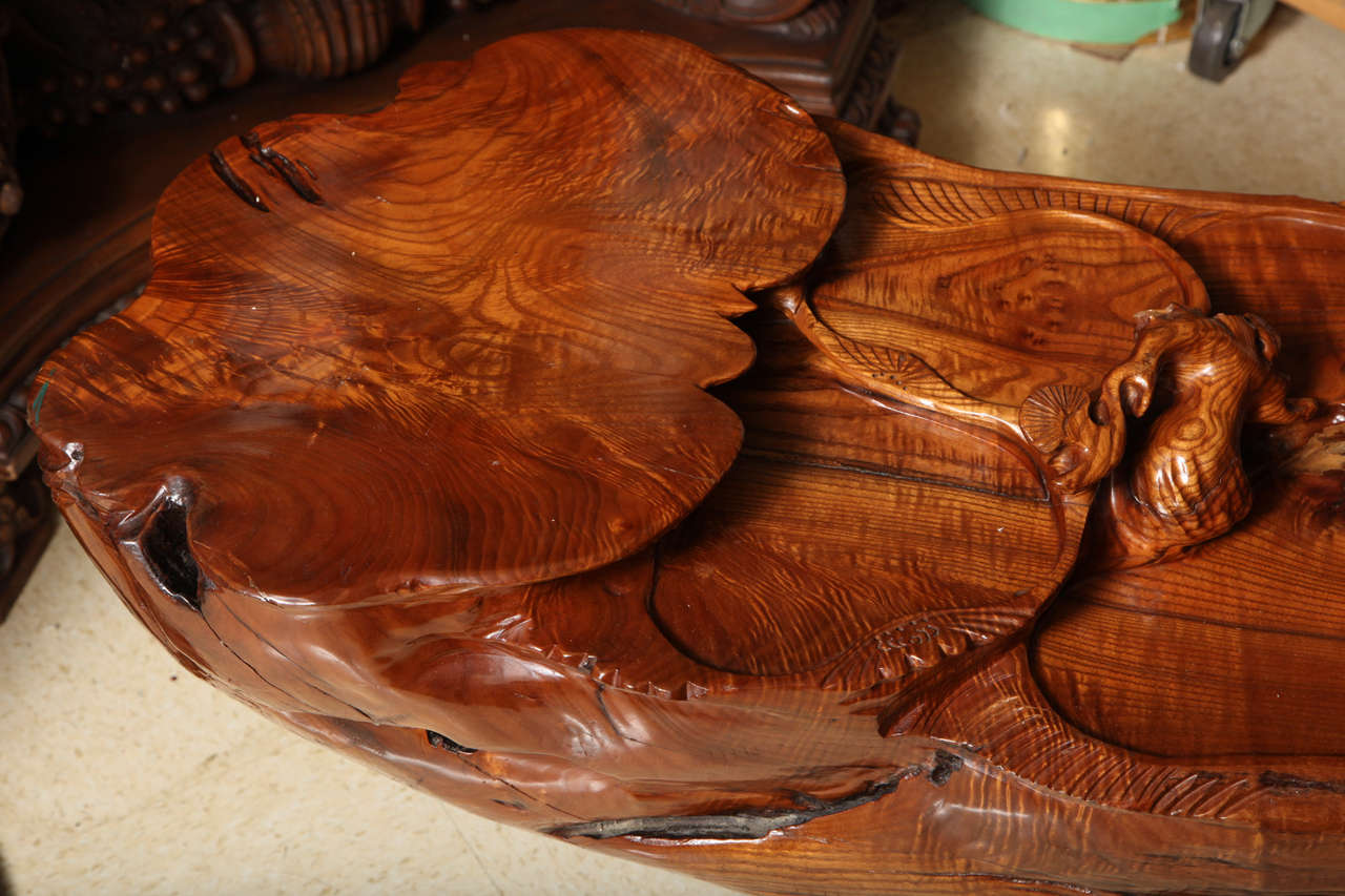 Very Unusual Carved Tree Trunk Chinoiseri Style Coffee Table In Excellent Condition In New York, NY