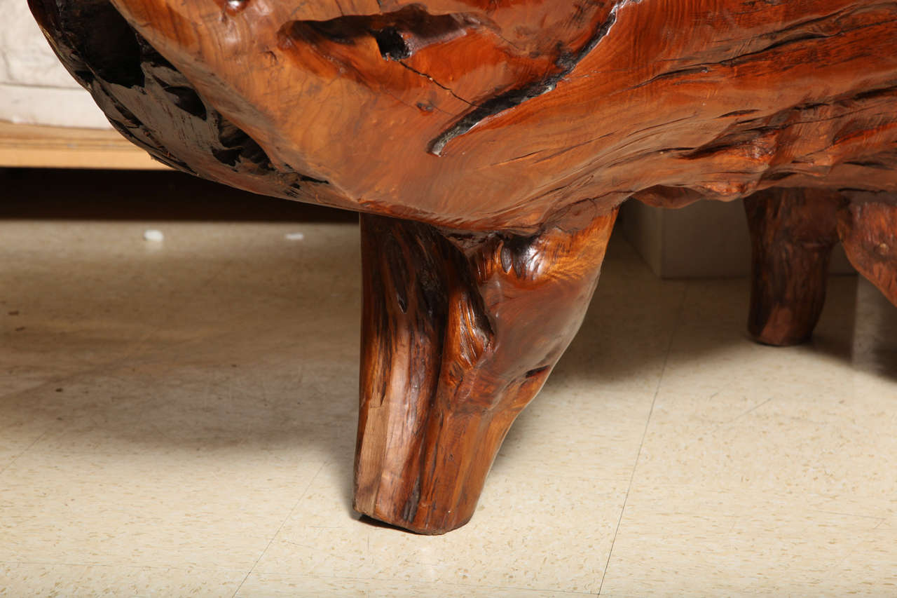 Very unusual carved tree trunk chinoiseri style coffee for Extremely exotic coffee tables