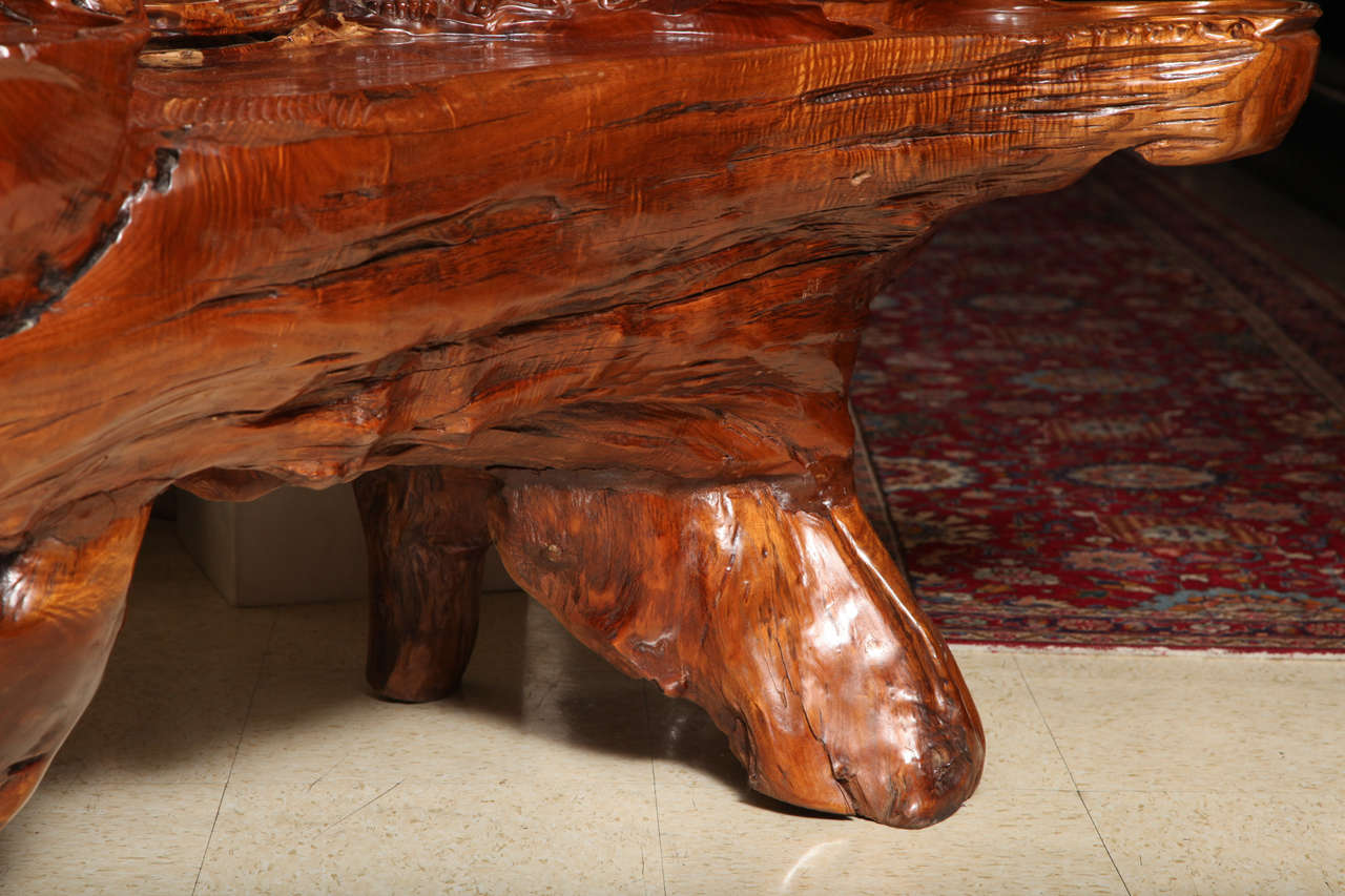 Very Unusual Carved Tree Trunk Chinoiseri Style Coffee Table 3