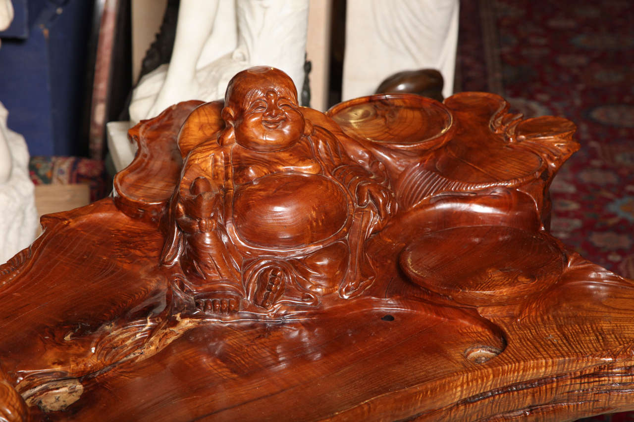Very Unusual Carved Tree Trunk Chinoiseri Style Coffee Table 4
