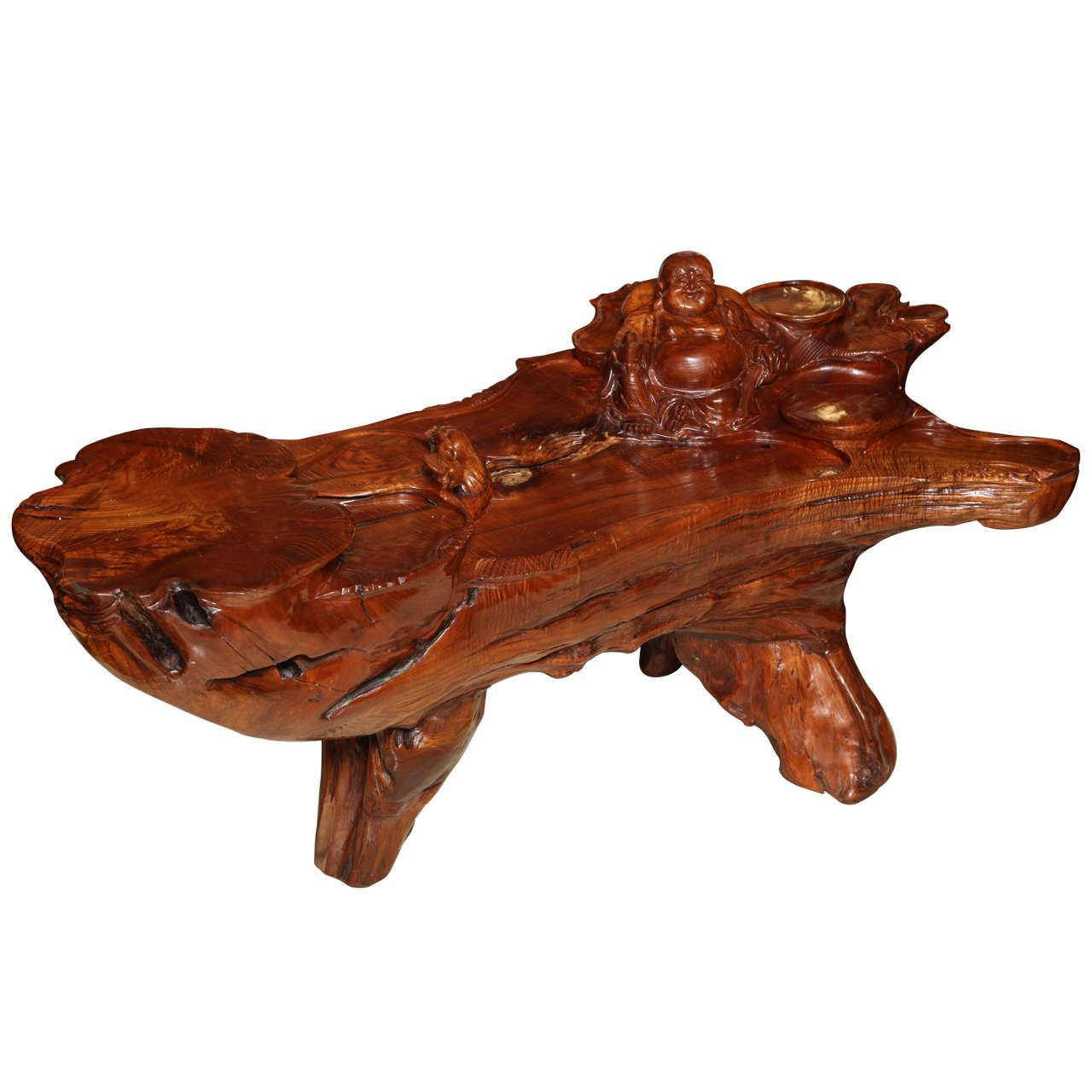 Very Unusual Carved Tree Trunk Chinoiseri Style Coffee Table 1