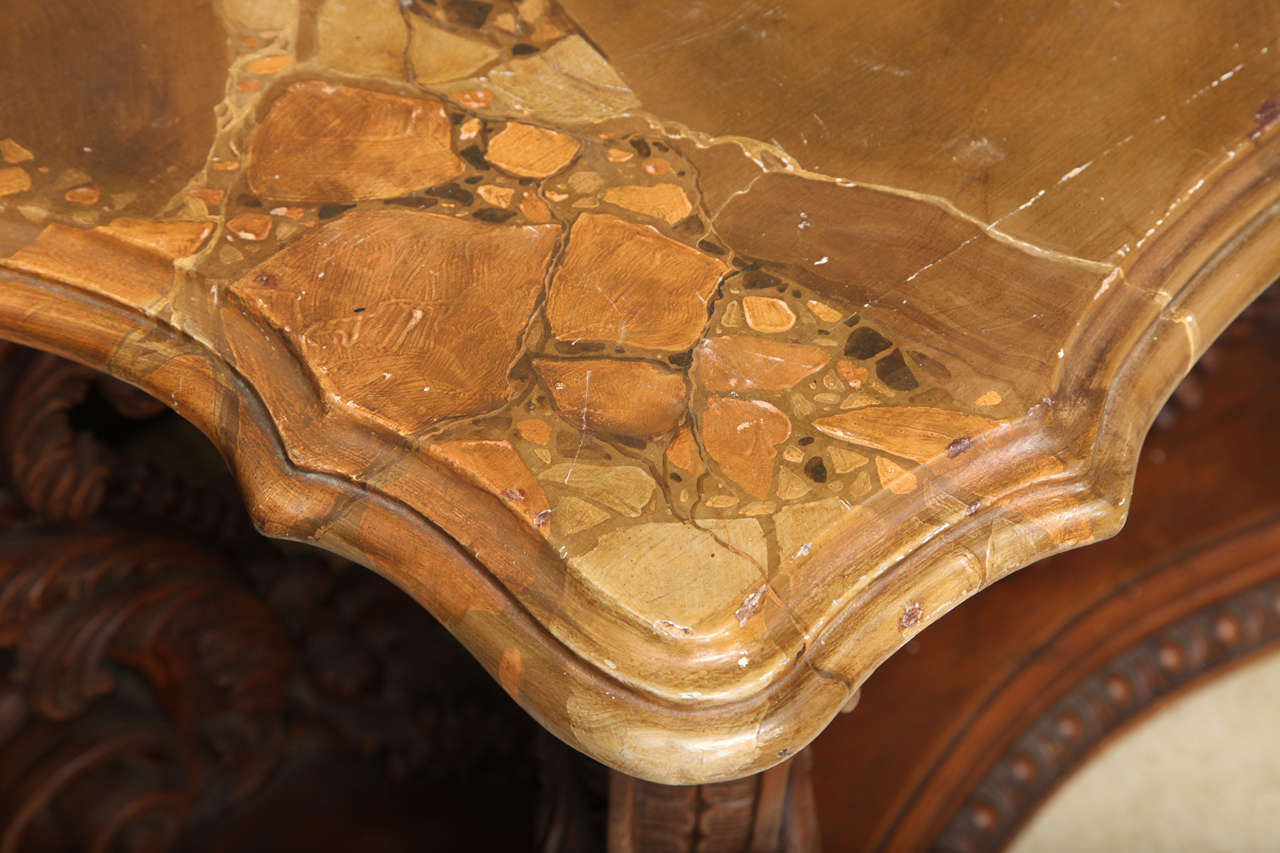 Wood Italian Rococo Style Shell Motif Console For Sale