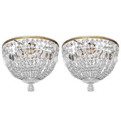 Pair of Flush Mount Crystal and Brass Round Chandeliers
