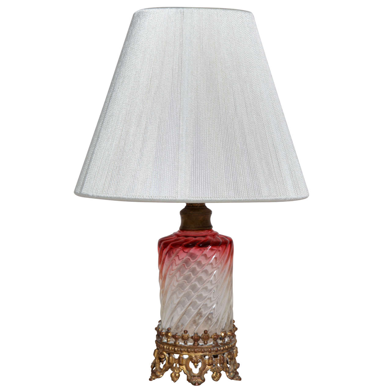 French Art Deco Small Cranberry Glass Table Lamp with Baccarat Crystal