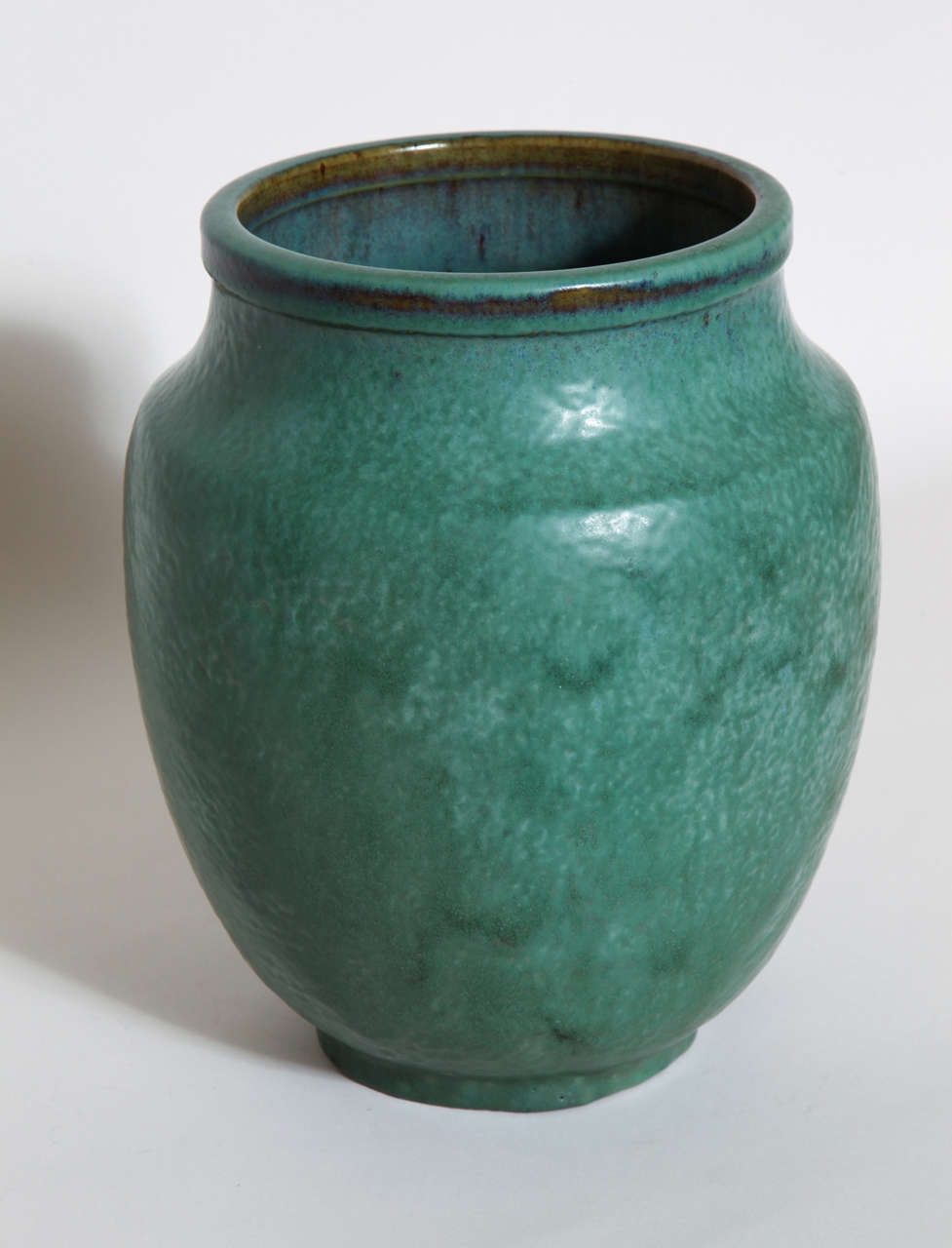 Emile Decoeur French Art Deco Green Stoneware Vase In Excellent Condition For Sale In New York, NY