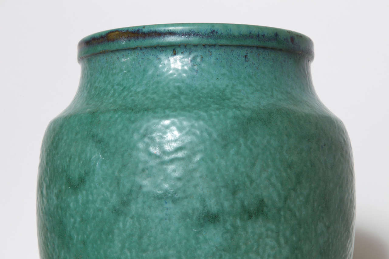 20th Century Emile Decoeur French Art Deco Green Stoneware Vase For Sale