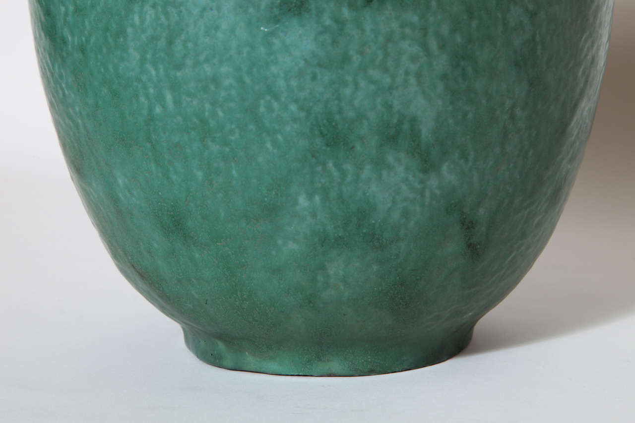 Emile Decoeur French Art Deco Green Stoneware Vase For Sale 1