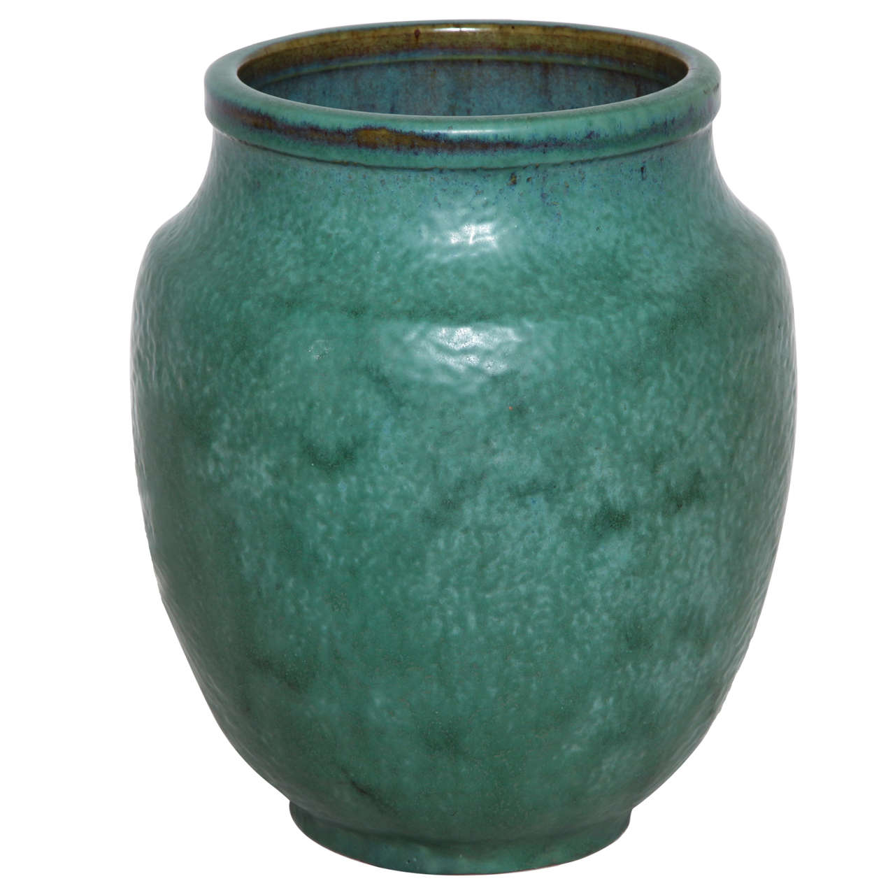 Emile Decoeur French Art Deco Green Stoneware Vase For Sale
