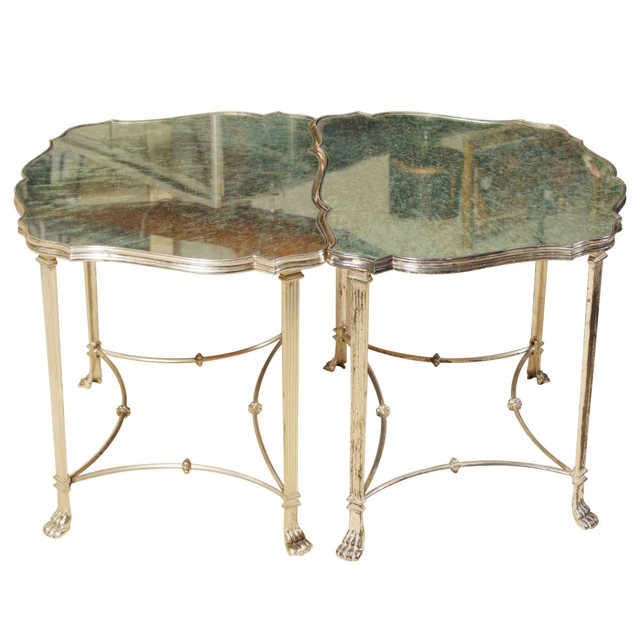 Pair Neo Classical Mirrored Silver Plated French Cocktail/ Side Tables