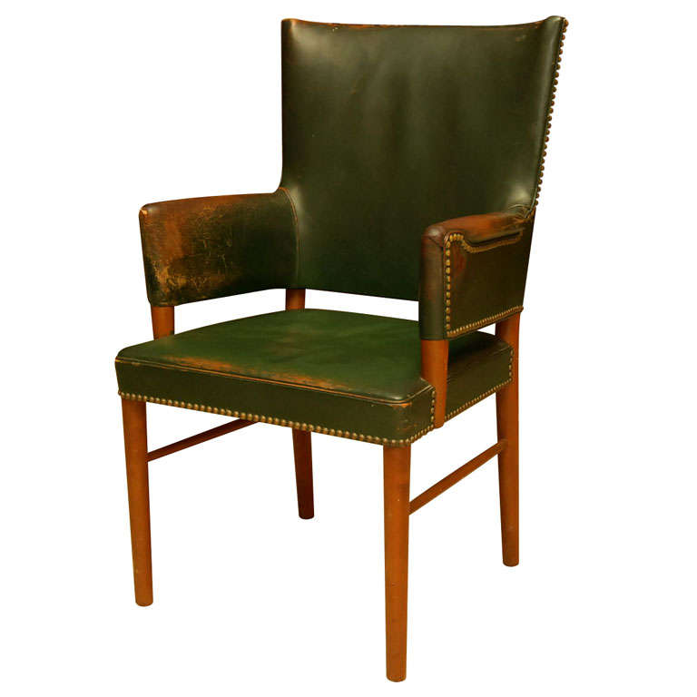 dark green leather armchair at 1stdibs