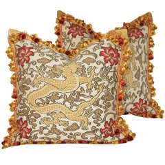 Oversized Pair of Aubusson Style Handmade Tapestry Pillows