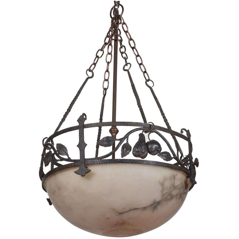 Alabaster globe pendulum chandelier at 1stdibs for Pendulum light globes
