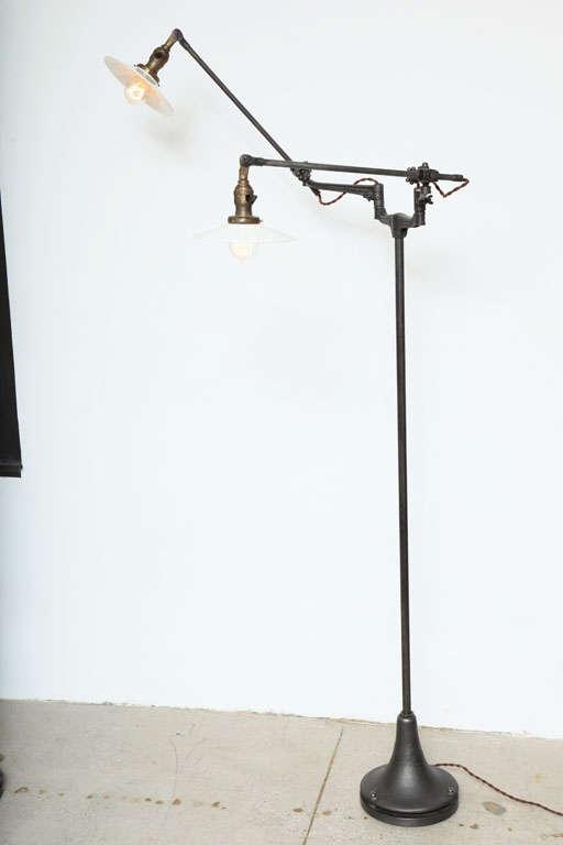 adj double arm floor lamp light vintage industrial original at 1stdibs. Black Bedroom Furniture Sets. Home Design Ideas