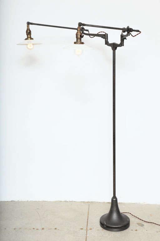 this adj double arm floor lamp light vintage industrial original is. Black Bedroom Furniture Sets. Home Design Ideas