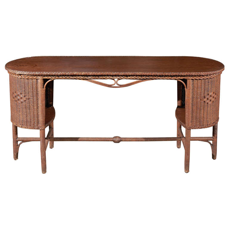 Wicker   Wood Library Table 1. Wicker and Wood Library Table For Sale at 1stdibs