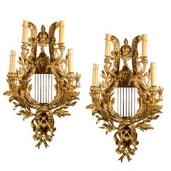 Pair Of Gilt Bronze Four-Light Sconces