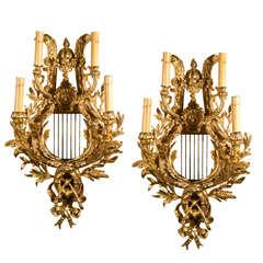 Pair Of Gilt Bronze Four-Light Sconces