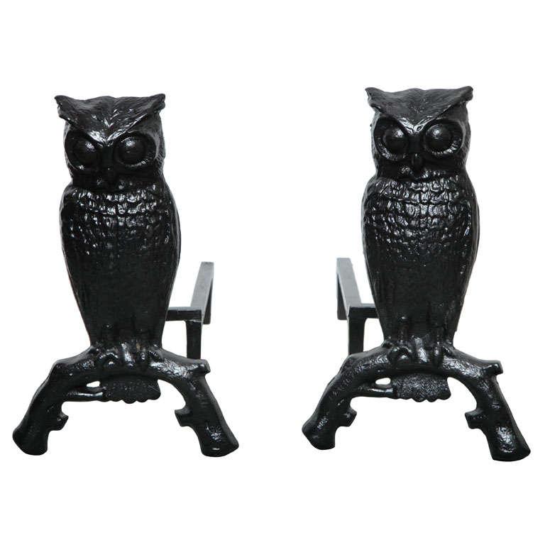 Owl Cast Iron Andirons at 1stdibs