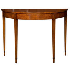 Custom English Walnut Demilune Console