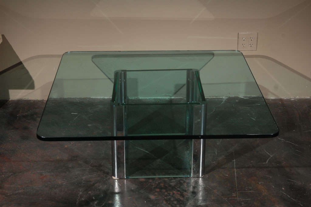 American Chrome and Glass Coffee Table by Pace International For Sale