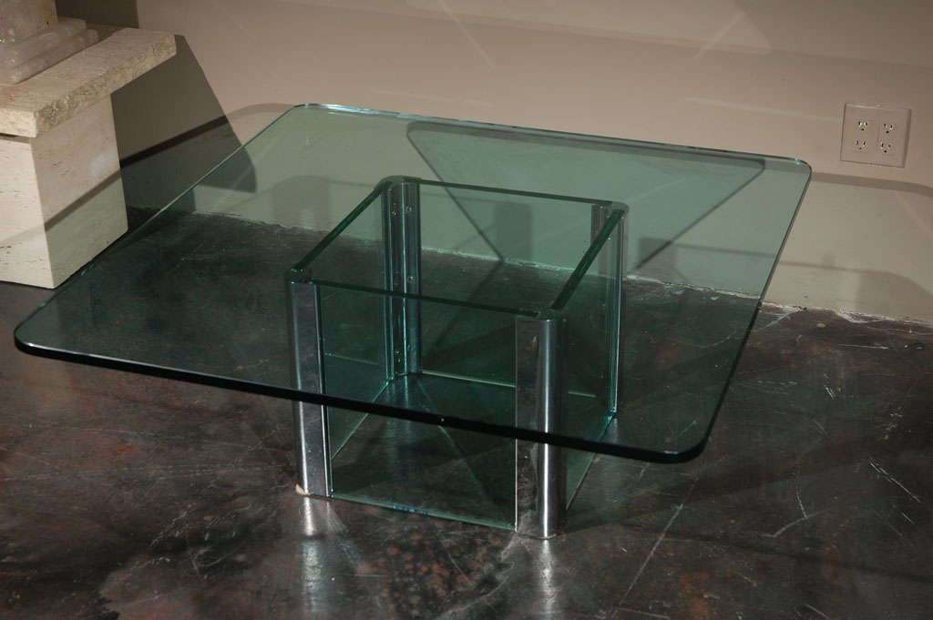 20th Century Chrome and Glass Coffee Table by Pace International For Sale