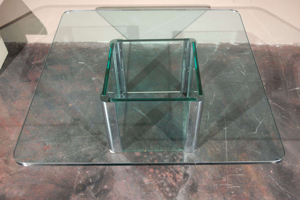 Chrome and Glass Coffee Table by Pace International For Sale 2
