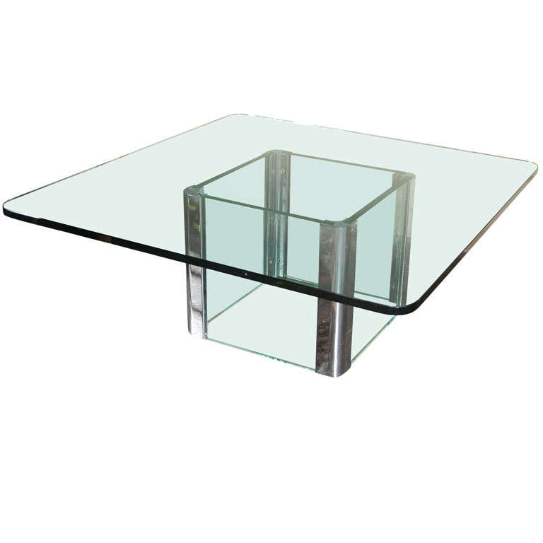 Chrome and Glass Coffee Table by Pace International For Sale