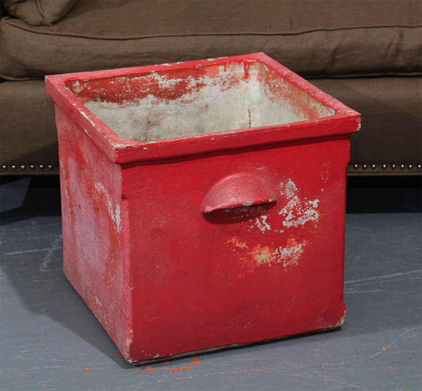 Square red planter from France. Great color and patina.