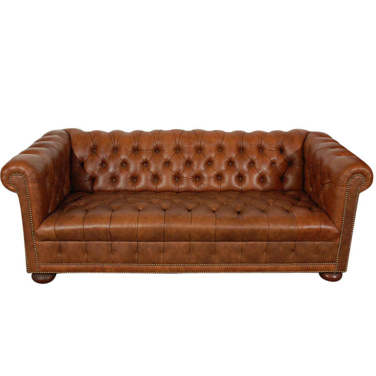 1960 39 S Leather Chesterfield Sofa In Distressed Leather