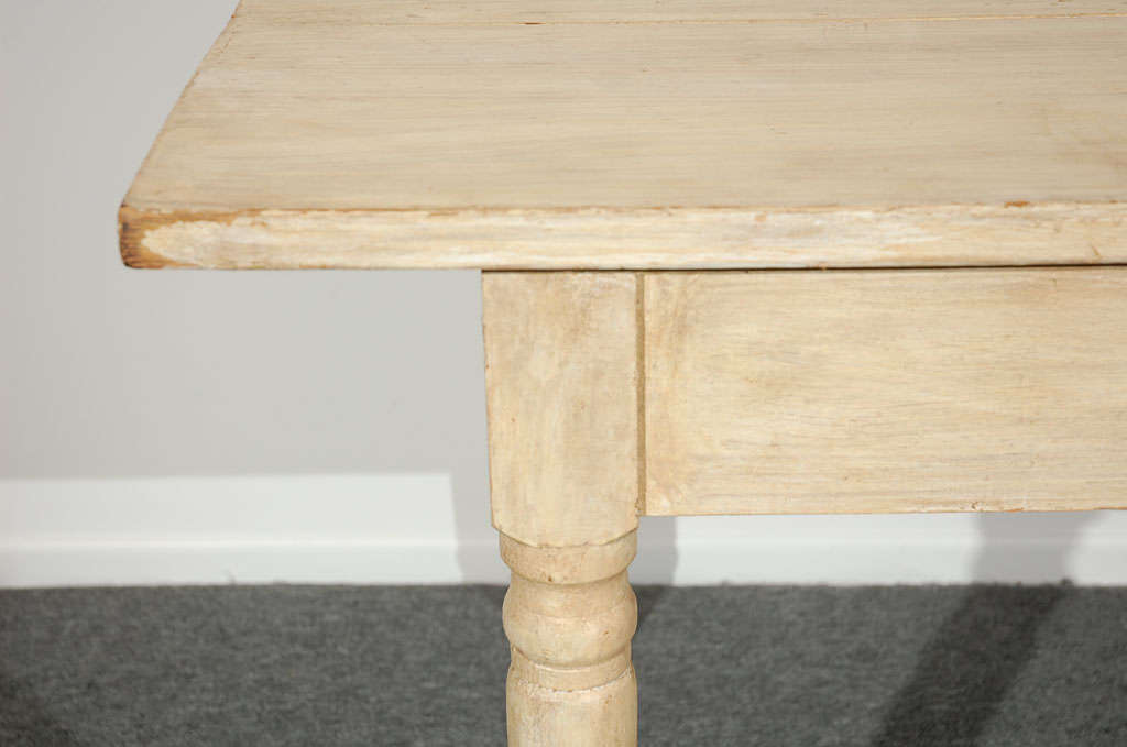 19THC  OYSTER PAINTED/THREE BOARD TOP FARM TABLE 4
