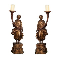 Italian Baroque Figural Pricket Candlesticks