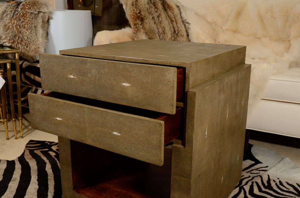 Philippine Shagreen Side Tables, Nightstands, Khaki or Chocolate Color For Sale