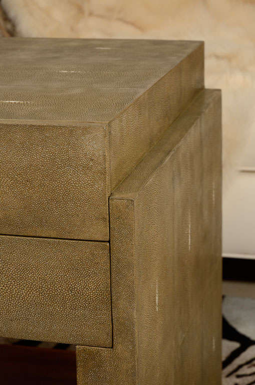 Hand-Crafted Shagreen Side Tables, Nightstands, Khaki or Chocolate Color For Sale