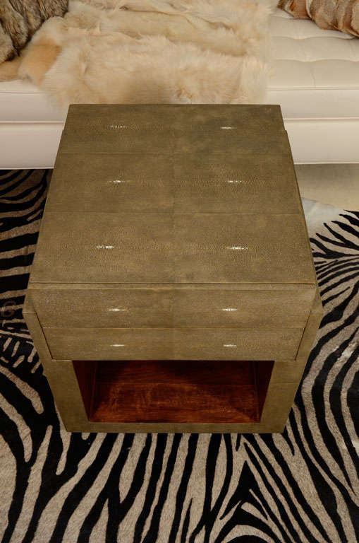 Shagreen Side Tables, Nightstands, Khaki or Chocolate Color In New Condition For Sale In New York, NY