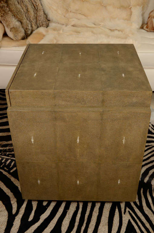 Contemporary Shagreen Side Tables, Nightstands, Khaki or Chocolate Color For Sale