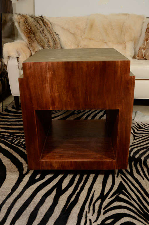 Shagreen Side Tables, Nightstands, Khaki or Chocolate Color For Sale 1
